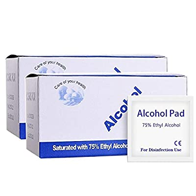 200 PCS Alcohol Prep Pads, 75% Alcohol Cotton Slices, Alcohol Gauze Pads Individually Wrapped Swap Pad, Cleaning Wet Wipe, 6 x 6cm/2.36in x 2.36in