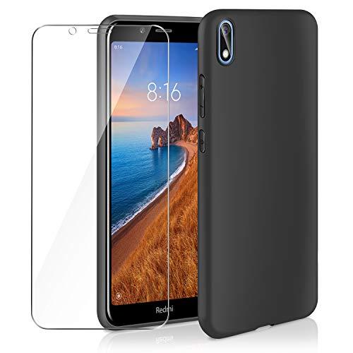 AROYI Funda Compatible con Xiaomi Redmi 7A y Cristal Templado, Carcasa Silicona TPU Ultra Fina Alta Resistente y Flexibilidad Fundas Cover Caso, Negro