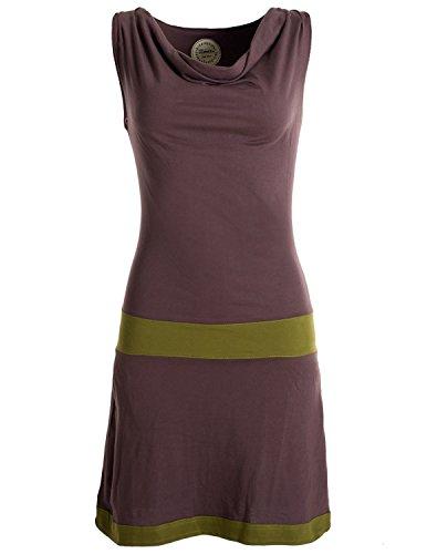 Vishes - Alternative Bekleidung - Ärmellose Tunika aus Biobaumwolle mit Wasserfallkragen braun 40-42 (L)-42