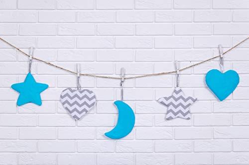 Amilian® Hängedeko Stern Herz Mond 5 Stück Design29 Wanddeko Anhängsel Gehänge Baby für Kinderbett NEU