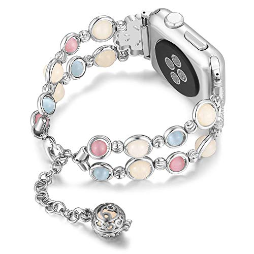 Handmade Jewelry Bracelet Compatible with Apple Watch Band strap Wristband 38mm/40mm Series 5 4 3 2 1, Crystal Pearl Night Luminous Iwatch Strap Beads Women Girls 5.5-7 inch (Silver)