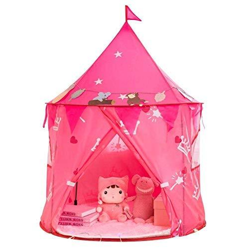 CSPone Tienda para Niños Juegos Pop Up Carpa Plegable para Niños Tienda de Princesa y Príncipe Tienda para Interiores y Exteriores Castillo para Niños (rosa)