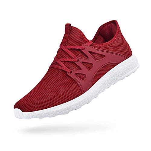 QANSI Mens Running Shoes Non Slip Lightweight Workout Sneakers Outdoor Athletic Cross Training Sports Walking Gym Tennis Shoes Red White 10.5