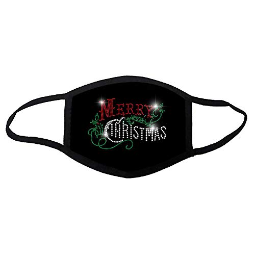 Face_Masks for Adult Washable Fashion Bling Rhinestone Merry Christmas Face Balaclavas Reusable Face Bandanas