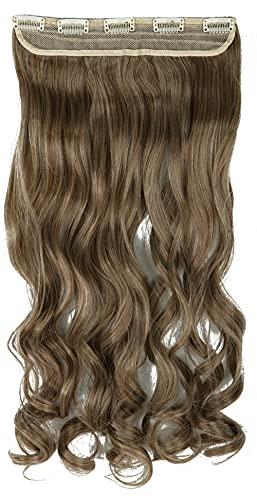 Castanho acinzentado, branqueador loiro, encaracolado, moderno, 66 cm, meia cabeça inteira, uma peça, 5 clipes, extensões de cabelo com clipe, extensão longa e reta