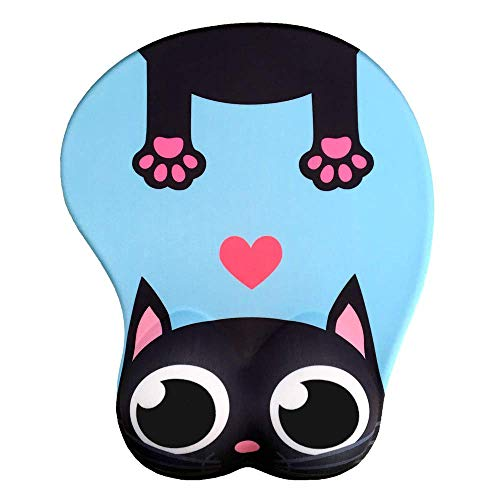 Cute Cat 3D Mouse Pad Soft Silicon Gel Mousepad with Wrist Support Ergonomic Mouse Pad Animal Mouse Mat for PC Mac (Blue)