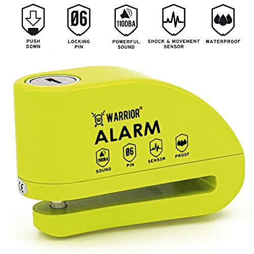 WARRIOR WA6Y Antirrobo Candado Disco Alarma 110 db Certificación CE, ø 6 mm, universal moto, scooter, bici electrica, patinete, Cable recordatorio