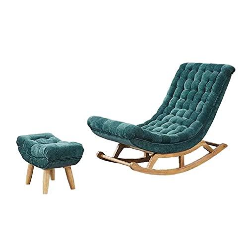 SFGH Wildleder Massivholz Schaukelstuhl Home Balkon Lazy Sofa Stuhl Freizeit Rückenstuhl Komfortabler nordischer Stil, dunkelgrün, mit Pedalen