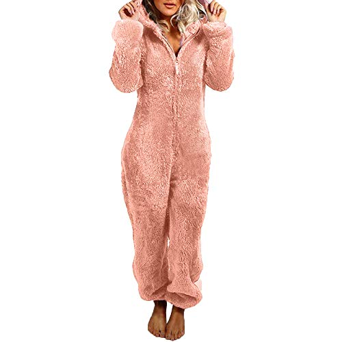 Damen Jumpsuit Teddy Fleece Reißverschluss Einteiler Overall mit Kapuze Flauschig Warme One Piece Pyjama Jumpsuits (Rosa, M)