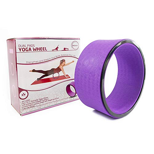 Stretching Yoga Wheel - Supports Warm Ups, Poses, Backbends - Extra Wide Dharma Wheel Prop...
