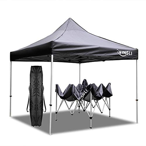 VINGLI Pop Up Canopy Tent, 10 x 15 Commercial Tent, Craft Booth Heavy Duty Market Flee Tent, with Removable Side Panels, Mesh Tent, Hexagonal Aluminum Legs, Wheeled Carry Bag