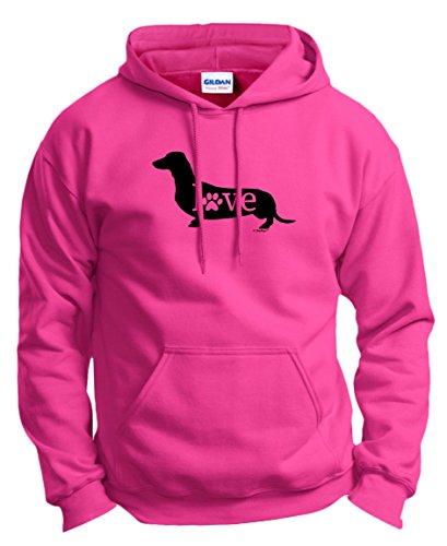 Dog Mom Gifts Dachshund Wiener Dog Love Paw Prints Hoodie Sweatshirt