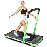 Folding Treadmills, 2in1 Under Desk Treadmill for Home Office Gym Small Spaces Jogging Running Machine with Remote Control, Bluetooth Speaker and LED Display, Installation-Free 2020 Model (Green)