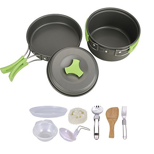 HUKOER Camping Cookware Mess Kit - 12 Pcs Cooking Utensils Gear & Hiking Outdoors Cookset | Lightweight, Compact & Durable Pots Pans Bowls & Griddles - Free Folding Spork, Nylon Bag