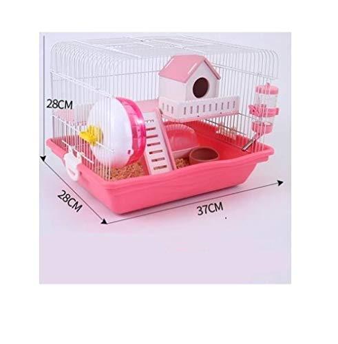 Yanxinenjoy Egel terrarium villa dubbele lagen hamsters duurzaam en stevig, Rood