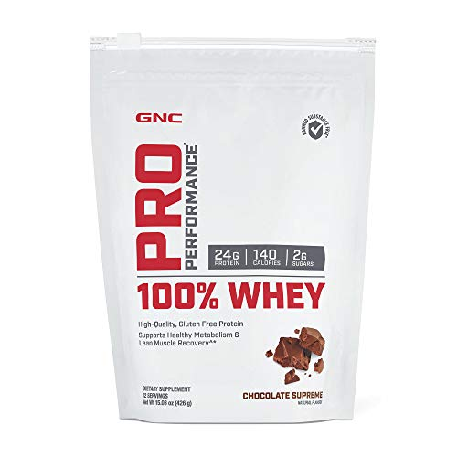 GNC Pro Performance 100% Whey, Chocolate Supreme, 12 Servings, Supports Healthy Metabolism and Lean...