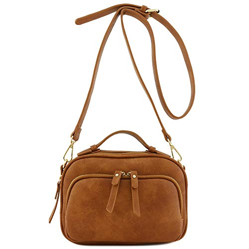 Top Handle Mini Satchel Bag Crossbody Purse (Dark Tan)