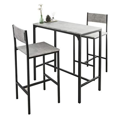 SoBuy OGT03-HG Set Mesa Alta de Bar y 2 taburetes Mesa de Comedor con Respaldos de Estilo Industrial ES
