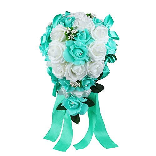 Vlovelife Wedding Bouquet Mix White & Teal Blue PE Rose Flowers Bridal Bridesmaid Bouquets Artificial Flower Satin Ribbon Decor Handmade Posy Pearl Rhinestone Plant Leaf Vine Decor