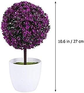 SANHOC - Planta Artificial con Forma de Bola de simulación de Bonsai de plástico para decoración de jardín (Morado): plumón