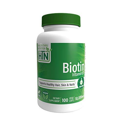 Biotina 10,000 mcg 100 cápsulas vegetarianas por Health Thru Nutrition - Sin OMG, sin alérgenos, sin gluten (100)