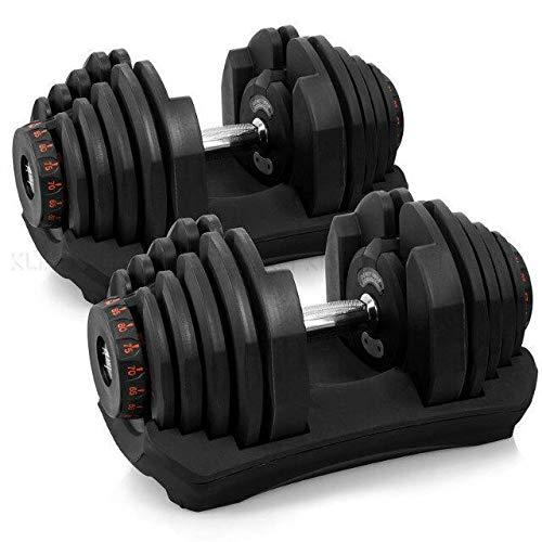 Mancuerna ajustable individual para gimnasio en casa y fitness, con juego de placa de peso y asa para hombre y mujer, ejercicio básico (40 kg)
