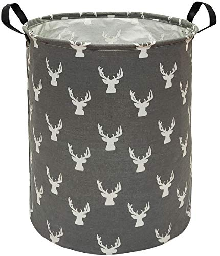 KUNRO Large Sized Storage Basket Waterproof Coating Organizer Bin Laundry Hamper for Nursery Clothes Toys (Grey deer)