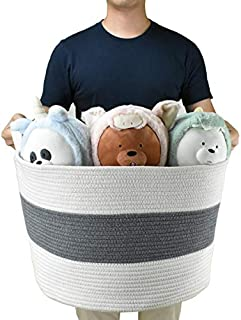 Cotton Rope Storage Laundry Baskets, 22 x 14 Inch Extra Large Woven Baby Laundry Hamper with Handles for Toy Towel Blankets
