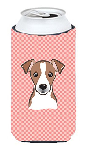 Damier rose Jack Russell Terrier Tall Boy KOOZIE pour bb1260tbc