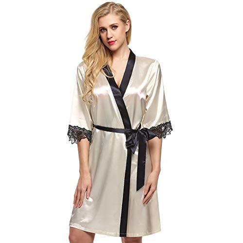 Eaylis Damen Sexy Lace Dessous Satin Silk Gown Pyjamas Cardigan Nachthemd Splice Bademantel Frauen Robe Frauen Unterwäsche