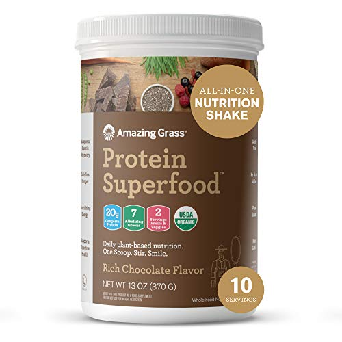 Amazing Grass Protein Superfood: Vegan Protein Powder, All in One Nutrition Shake, with Beet Root Powder, Rich Chocolate, 10 Servings
