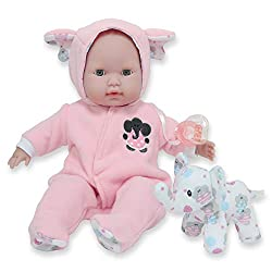 Baby doll in pink pajamas with stuffed elephant