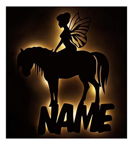 Pferde Led Holz Deko Geschenk mit Name für Pferd Fee Pferdeliebhaber Kinder Erwachsene Mädchen Frau Pferdefreunde