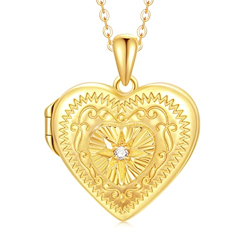 SOULMEET 10K Solid Yellow Gold Starburst Diamond Cut Heart Locket Pendant Necklace That Holds 2 Picture, 18' (Locket only)