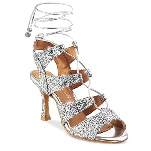 Rummos Mujeres Zapatos de Baile Bachata 04 139G - Material: Brillante - Color: Plateado - Anchura: Normal - Tacón: 70R Flare - Talla: EUR 36