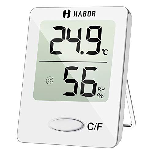 Habor Thermo, Luftfeuchtigkeitsmessgerät Digitales Thermometer Innen Hydrometer Feuchtigkeit Hygrometer, Weiß