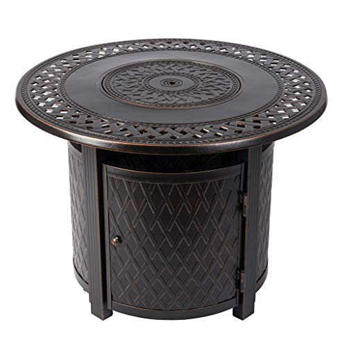 Fire Sense Wagner Round Aluminum LPG Fire Pit Table   Antique Bronze Finish   25,000 BTU Output   Uses 20 Pound Propane Tank   Fire Bowl Lid, Vinyl Weather Cover, and Clear Fire Glass Included  