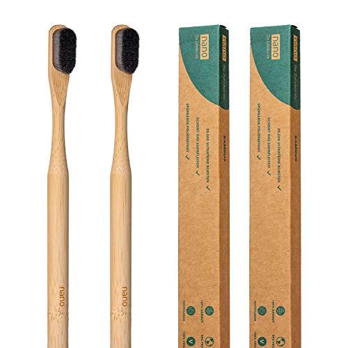 2er-Pack | nano. Bambus. | Nachhaltige Nano Zahnbürste | 20.000 Borsten | 100% Bambusgriff | Für Schmerzpatienten | Schonende Reinigung | Extra weich