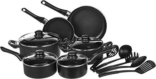 Amazon Basics Non-Stick Cookware Set, Pots, Pans and Utensils - 15-Piece Set