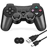 PS3 Controller Wireless, Rechargeable PS3 Remote Controller, Circuit Pattern Double Shock 6-axis Joystick Gamepad Compatible for Playstation 3 Console Game, with Charger Cable