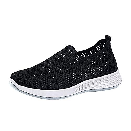 Zapatillas Deporte Mujer, Deportivas Sneaker Running Senderismo Transpirable Verano 2021 Cordones Baratas Blancas Regular Vestir Platform Cuña Plantilla Gimnasio Gimnasia (H31_Black,EU36)