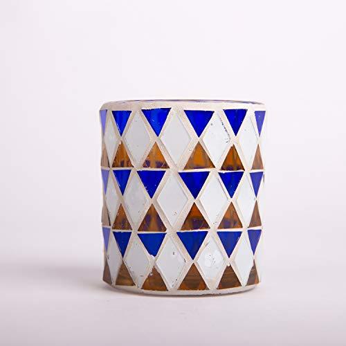 INNA-Glas Teelichtglas Samira, orientalisches Mosaik Muster, Zylinder - rund, blau - weiß, 7x7x8cm - Teelichthalter - Kerzenglas