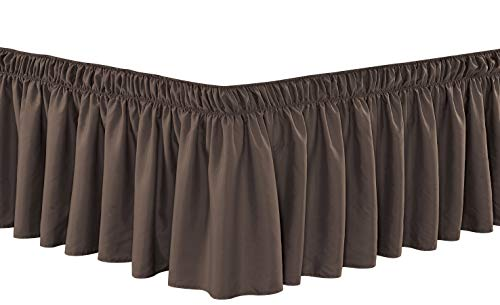 Wrap Around 24' inch Long Fall Brown Ruffled Platform Elastic Solid Bed Skirt Fits All Queen, King and Cal King Size Bedding High Thread Count Microfiber Dust Ruffle, Soft & Wrinkle Free.