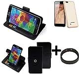 K-S-Trade® Case Schutz Hülle Für Blaupunkt SL 04 + Bumper Handyhülle Flipcase Smartphone Cover Handy Schutz Tasche Walletcase Schwarz (1x)