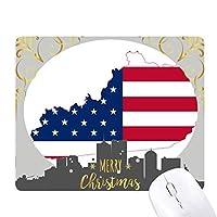 米国のマップケンタッキー星とストライプの旗の形 クリスマスイブのゴムマウスパッド