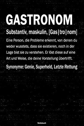 Gastronom Notizbuch: Gastronom Journal DIN A5 liniert 120 Seiten Geschenk