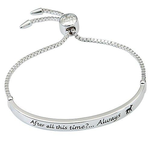 HARRY POTTER Women's Silver Plate Bar Lariat Bracelet, Silver, Size No Size