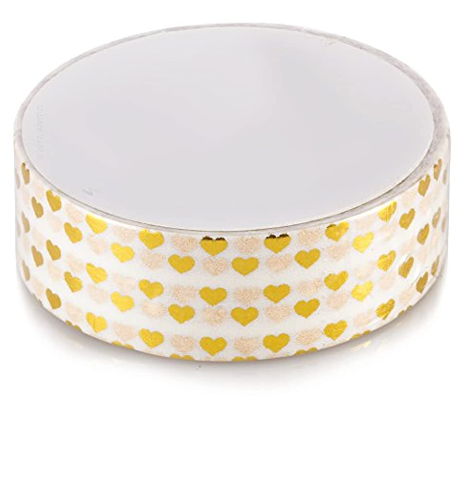 Washi Tape Size 9/16 inches X 10 Yards (White/Gold Metallic Heart)