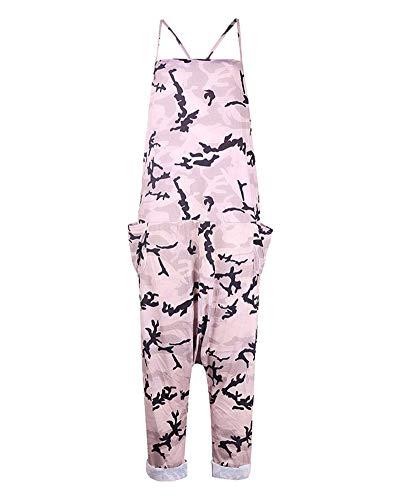 Damen Baggy Sling Strap Latzhose Casual Loose Overall Vintage Jumpsuit Spielanzug Bib Hosen Wide Leg Hose Pink L