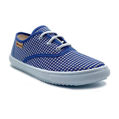 Zapatillas de Lona para niña y niño/Bambas Infantiles con aromaterapia antimosquitos/Calzado Infantil con Cordones elásticos/Fabricados en España (Marino, Numeric_32)